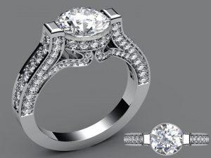 Custom designed platinum diamond ring