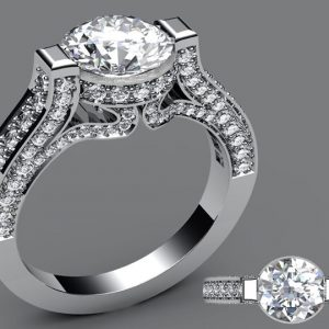 Custom designed platinum diamond ring